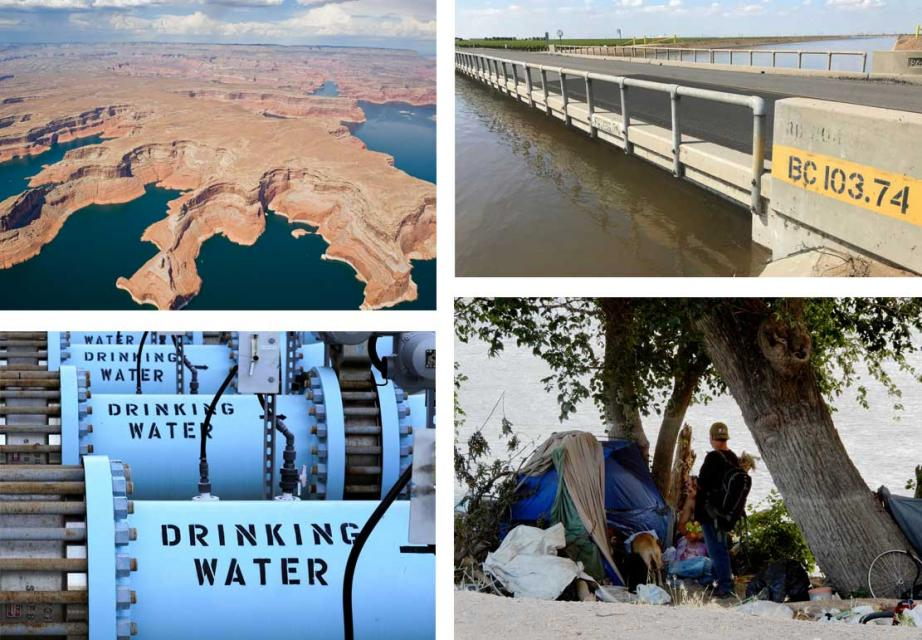 Clockwise, from top: Lake Powell, on a drought-stressed Colorado River; Subsidence-affected bridge over the Friant-Kern Canal in the San Joaquin Valley;  A homeless camp along the Sacramento River near Old Town Sacramento; Water from a desalination plant in Southern California.
